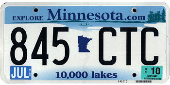 Minnesota License Plate