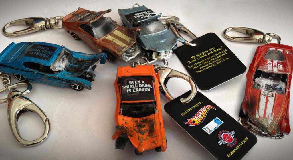 Hot Wheels Anti-Drunk Driving Message via Keychain