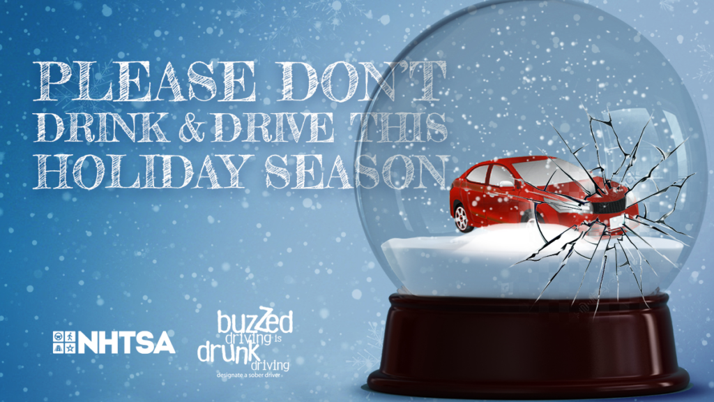 "this is a photo of a snow globe saying ""please don't drink and drive this holiday season"""