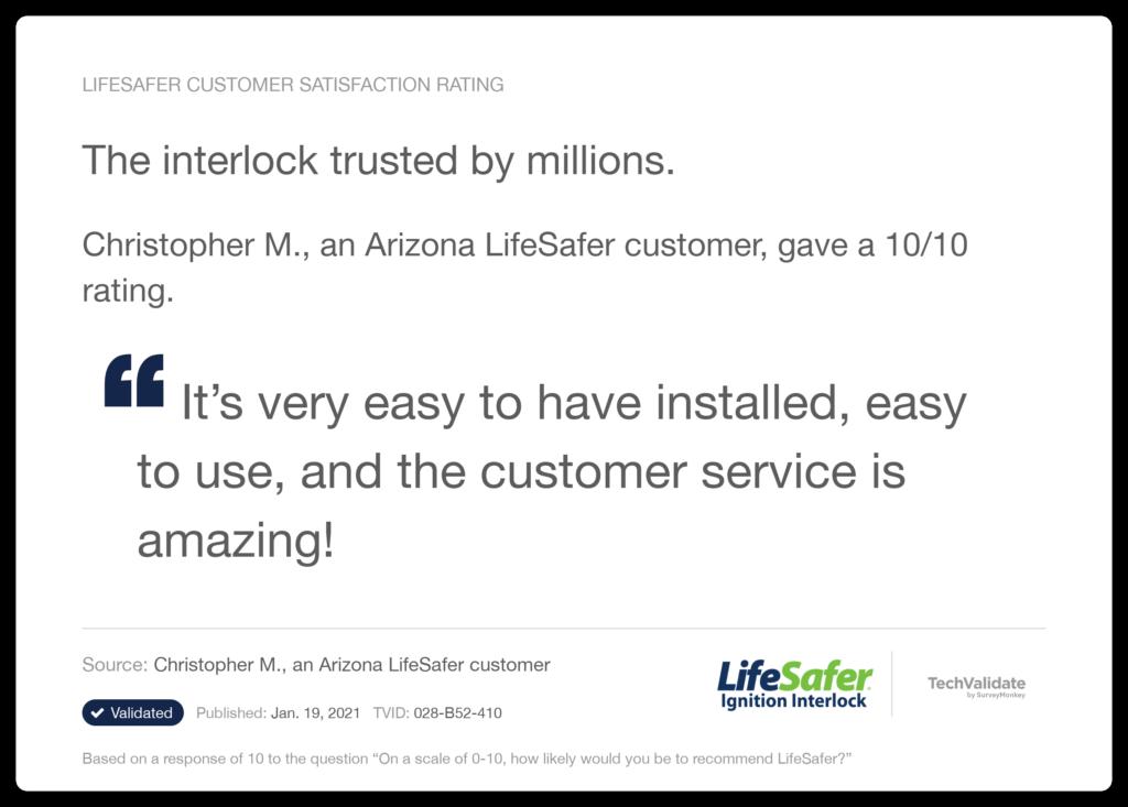 Christoper M. an Arizona LifeSafer customer gave LifeSafer's interlock 10/10.