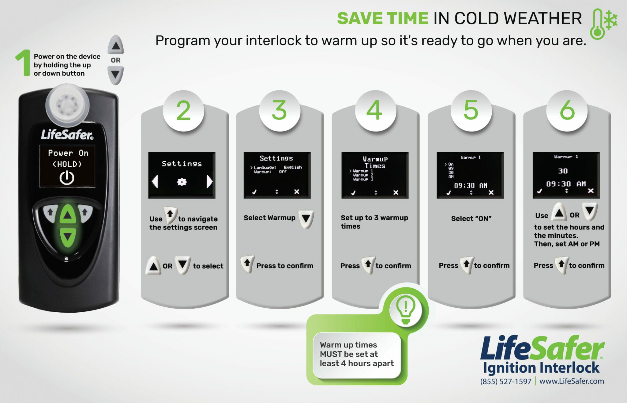 LifeSafer Ignition Interlock Warm Up Times Graphic Step by Step